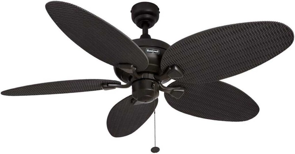 Honeywell Duvall 52-Inch Tropical Outdoor Ceiling Fan with Five Damp Rated Wicker Blades.