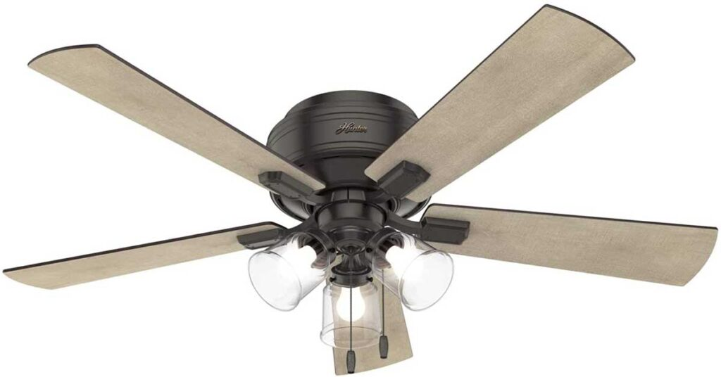 Hunter Crestfield Indoor Low Profile Ceiling Fan with LED Light and Pull Chain Control.