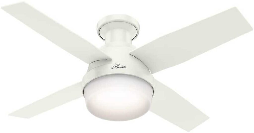 Hunter Dempsey Indoor Low Profile Ceiling Fan with LED Light and Remote Control.