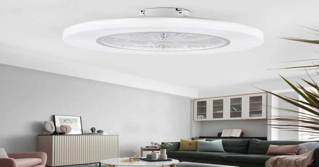 Orillon 22' Thin Modern Ceiling Fan with Light for Indoor Kitchen Bedroom, Remote LED light.