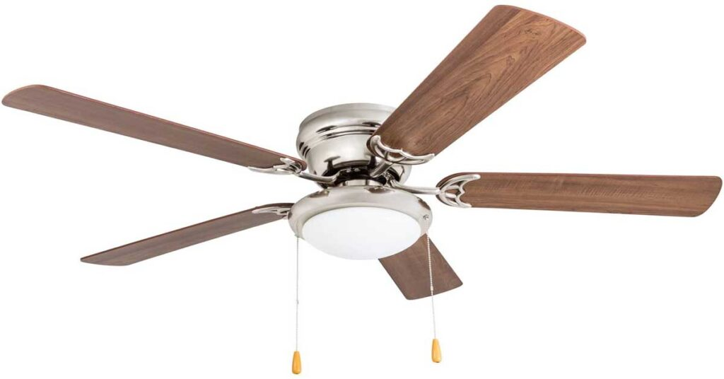 """Portage Bay 50254 Hugger 52"""" White West Hill Ceiling Fan with Bowl Light Kit."""