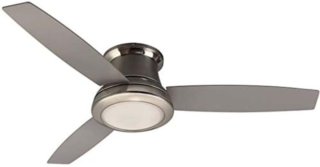 Harbor Breeze Sail Stream 52-in Brushed Nickel Flush Mount Indoor Ceiling Fan with Light Kit.